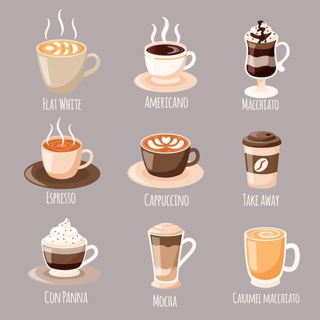커피 종류 개념 프리미엄 벡터