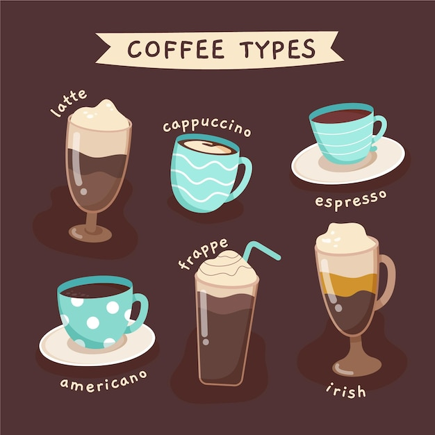 Coffee types illustration collection Free Vector
