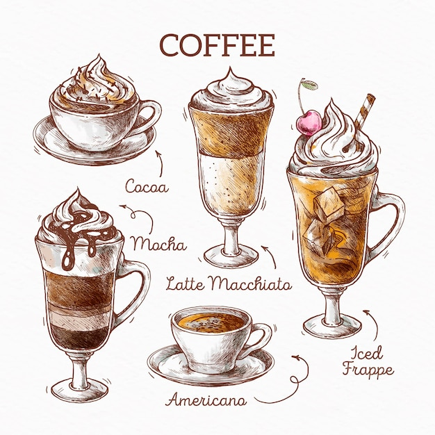 Coffee types illustration concept Free Vector