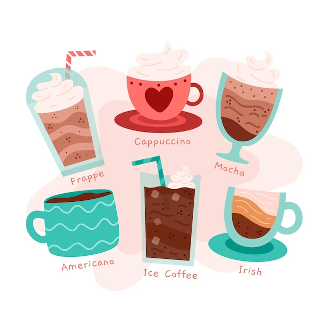 Coffee types illustration pack Free Vector