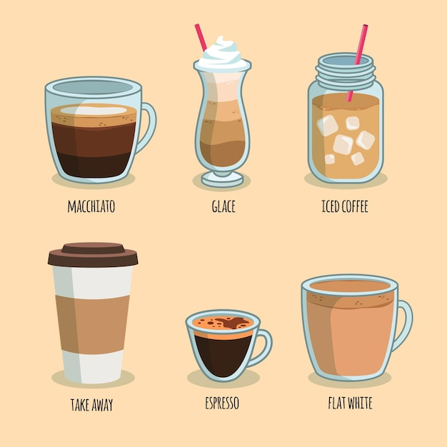 Coffee types pack concept Free Vector