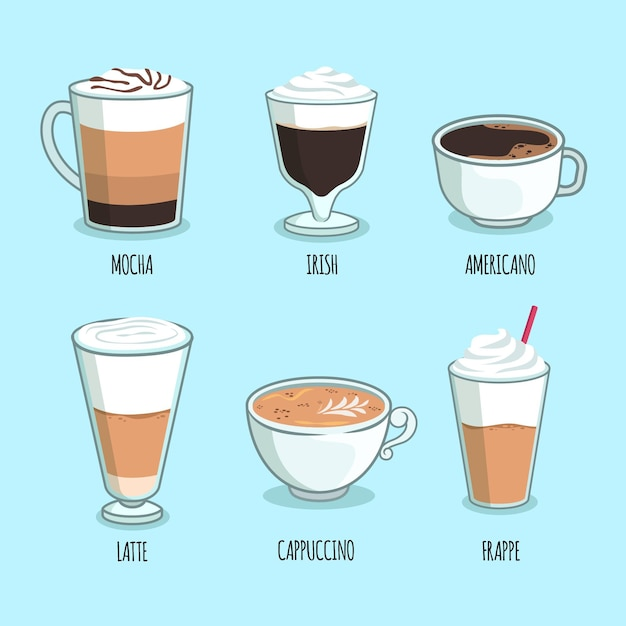 Coffee types pack theme Free Vector