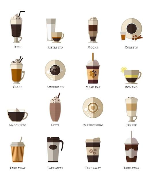 Set di icone piane di vettore di tipi di caffè. latte romano frappe glace take away correta mocha irish ristretto americano cappuccino espresso. Vettore gratuito