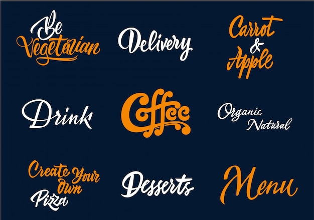 Coffee typography collection Free Vector