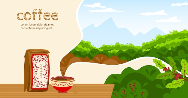 Coffee vector illustration. cartoon flat coffee cup aroma beverage, paper bag package, coffee beans harvest natural ingredient plants and nature plantation Premium Vector
