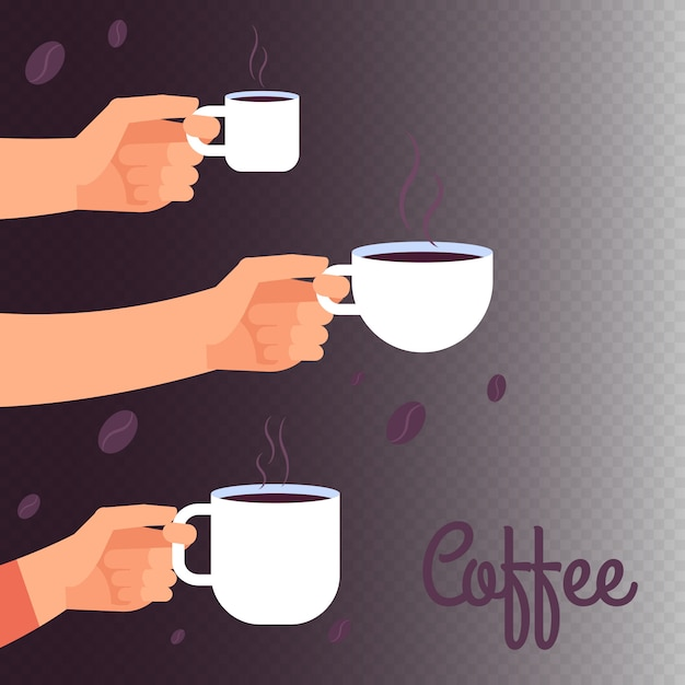 Coffee vector illustration with hands holding cups of hot drink Premium Vector