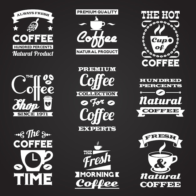Coffee vintage labels set Free Vector