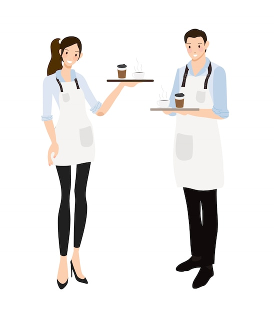 Coffee waiter or barista in blue shirt uniform set Premium Vector