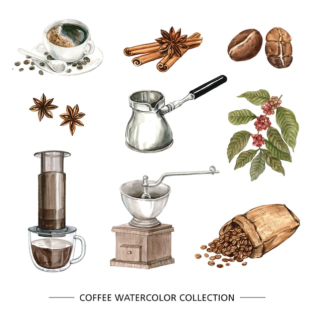 Coffee watercolor collection Free Vector