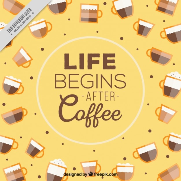 Coffee yellow background with message Free Vector