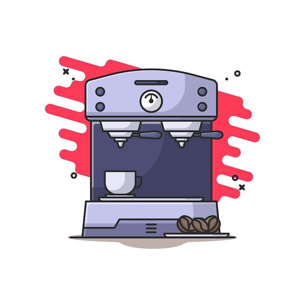 Кофеварка и иллюстрация кофейных зерен Premium векторы