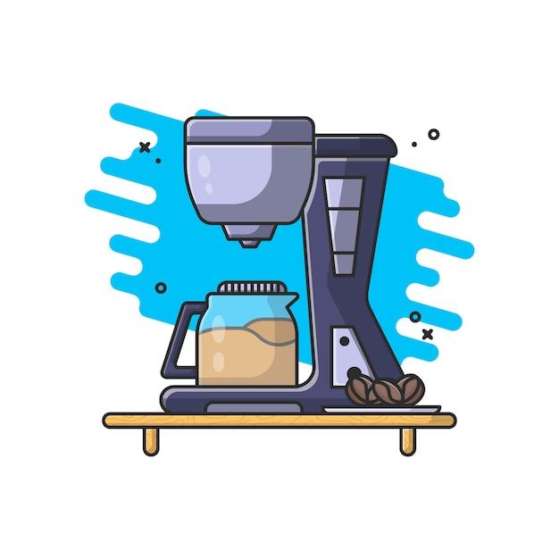 Кофеварка и кофейные зерна со стеклом иллюстрации Premium векторы