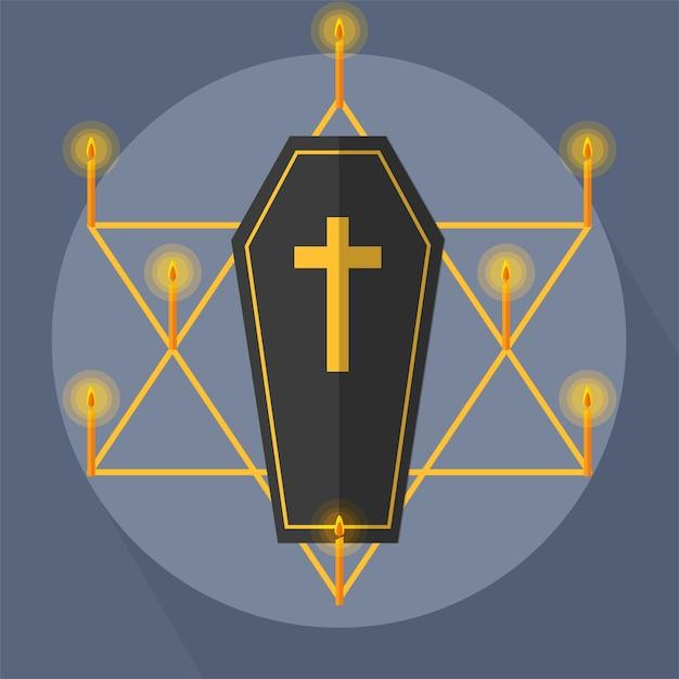 Coffin candle light star Premium Vector