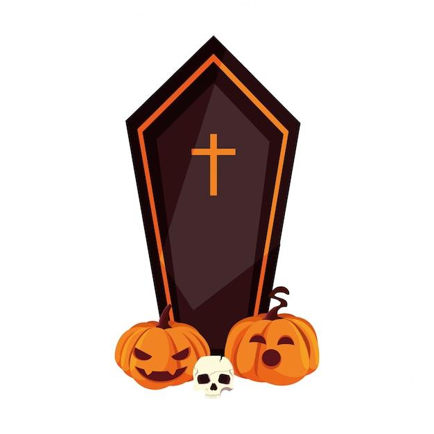 Coffin happy halloween celebration Premium Vector