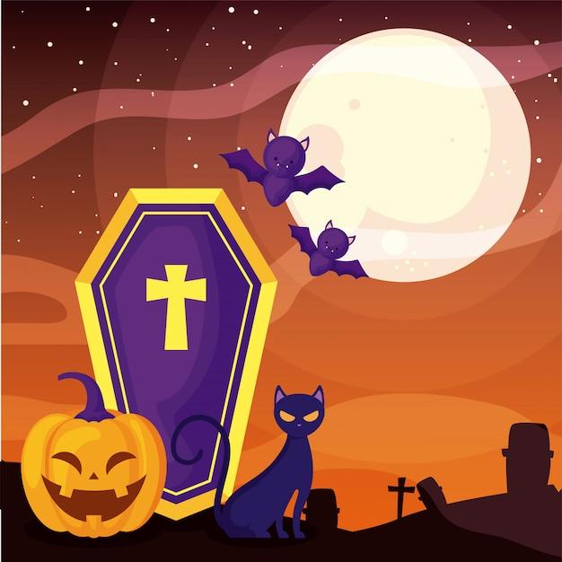 Coffin with christian cross on cemetery scene Premium Vector