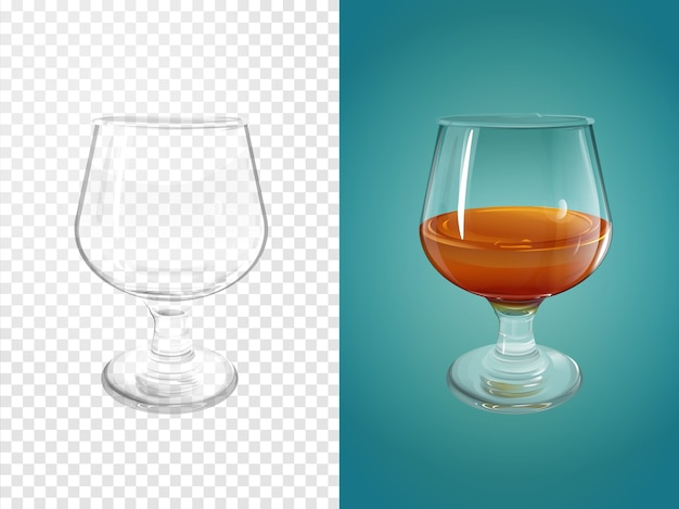 Cognac 3d illustration of realistic crockery for brandy cognac. Free Vector