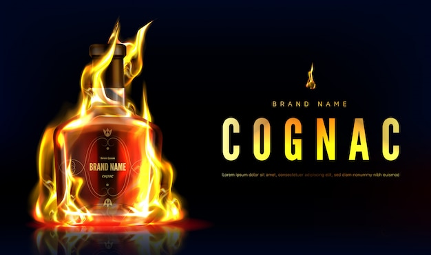 Cognac bottle in fire advertising banner. closed burning glass blank flask with strong alcohol drink on black background with flame, beverage ad. realistic 3d illustration Free Vector