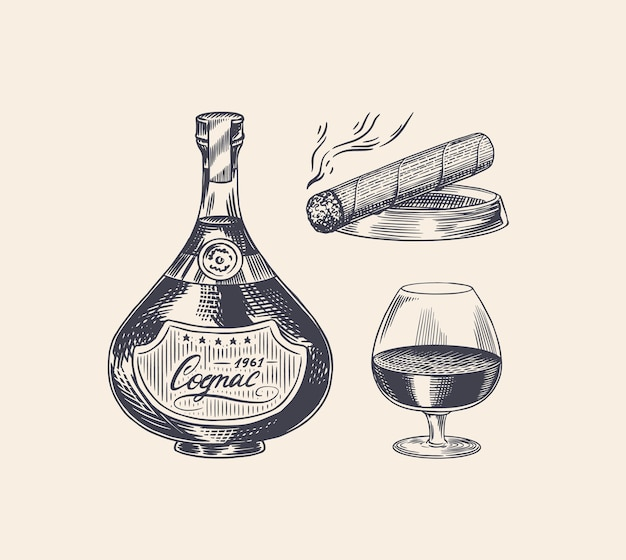 Cognac bottle and glass goblet and cigar Premium Vector