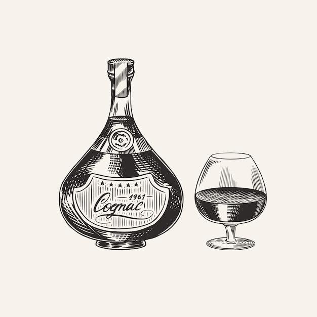 Cognac bottle and glass goblet. engraved hand drawn vintage sketch. woodcut style.  illustration. Premium Vector