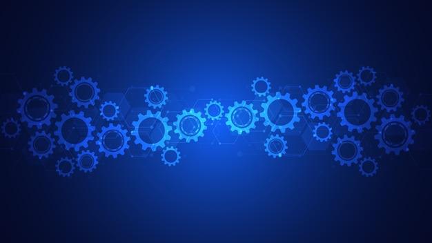 Зубчатые и шестеренные механизмы. высокотехнологичные цифровые технологии и инженерия. абстрактный технический фон. Premium векторы