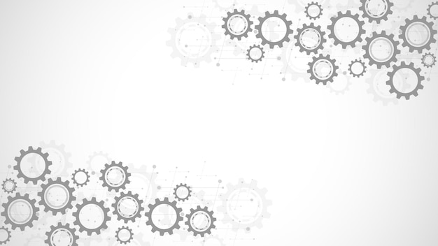 Cogs and gear wheel mechanisms. hi-tech digital technology and engineering. abstract technical background. Premium Vector