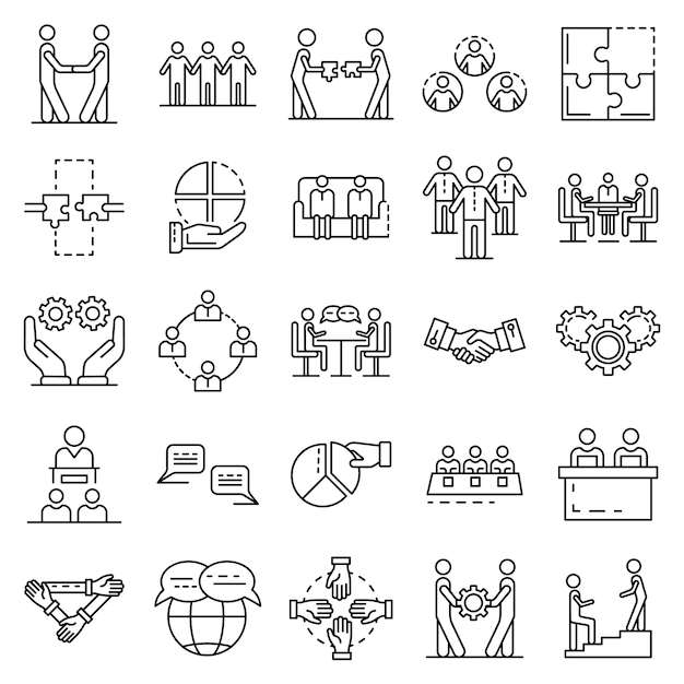 Cohesion icon set. outline set of cohesion vector icons Premium Vector