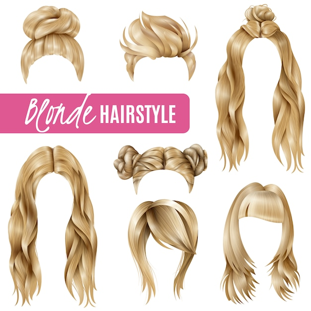 Coiffures for blond women set Free Vector