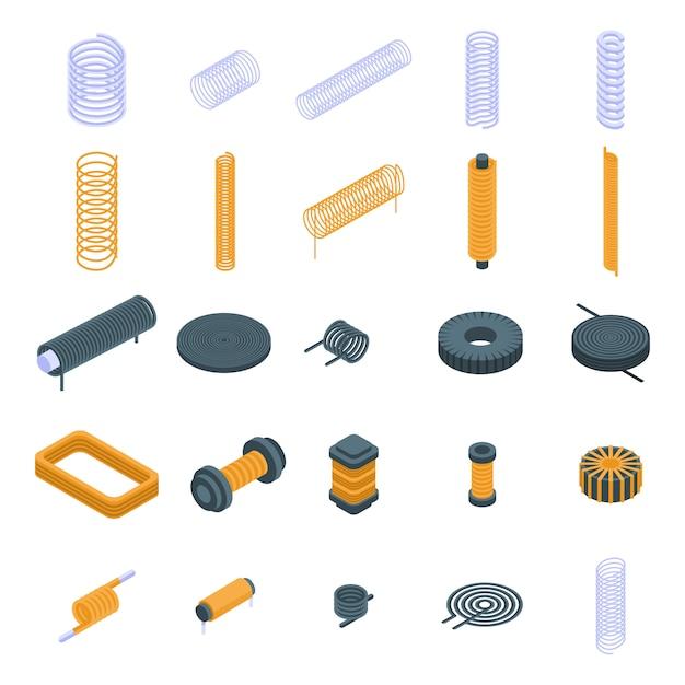 Coil icons set, isometric style Premium Vector