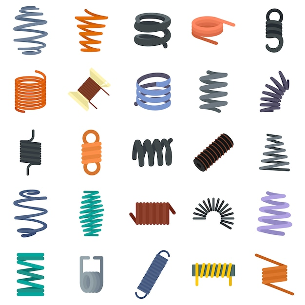 Coil spring cable icons set Premium Vector