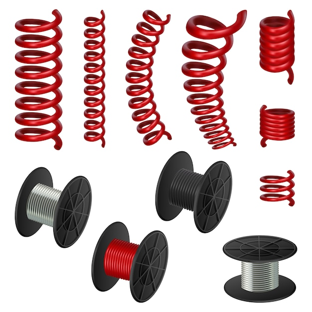 Coil spring cable mockup set Premium Vector