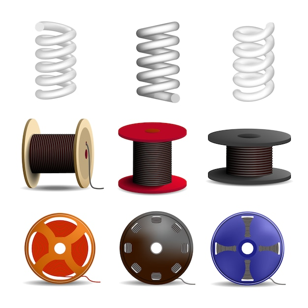 Coil spring icon set. realistic set of coil spring vector icons for web design isolated on white background Premium Vector