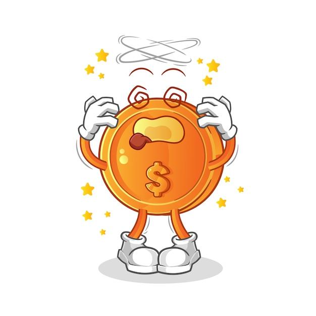 Coin dizzy head mascot cartoon Premium Vector