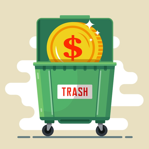 Coin dollar in the trash container Premium Vector