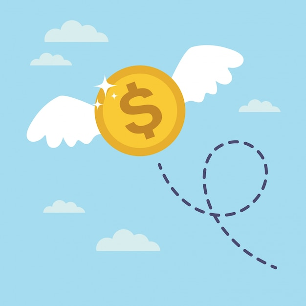 Coin dollar with wings flying in the sky. lost money concept Premium Vector