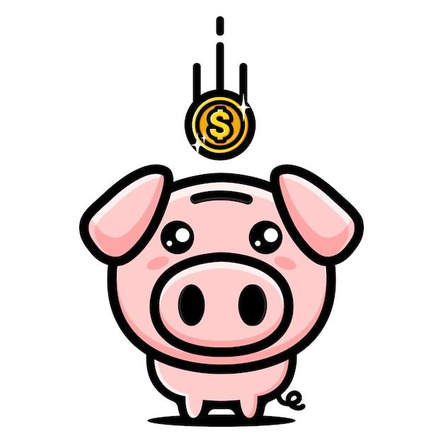 Монета попала в копилку милой свиньи Premium векторы