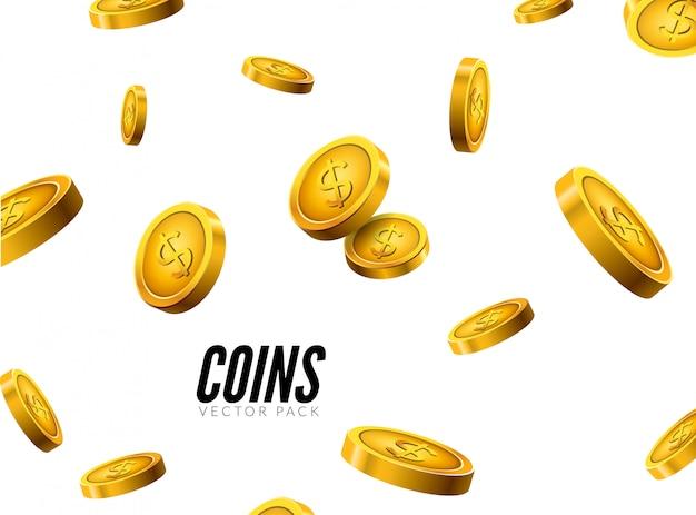 影付きのコインアイコン現実的なデザイン。現金宝の成功のコンセプト Premiumベクター