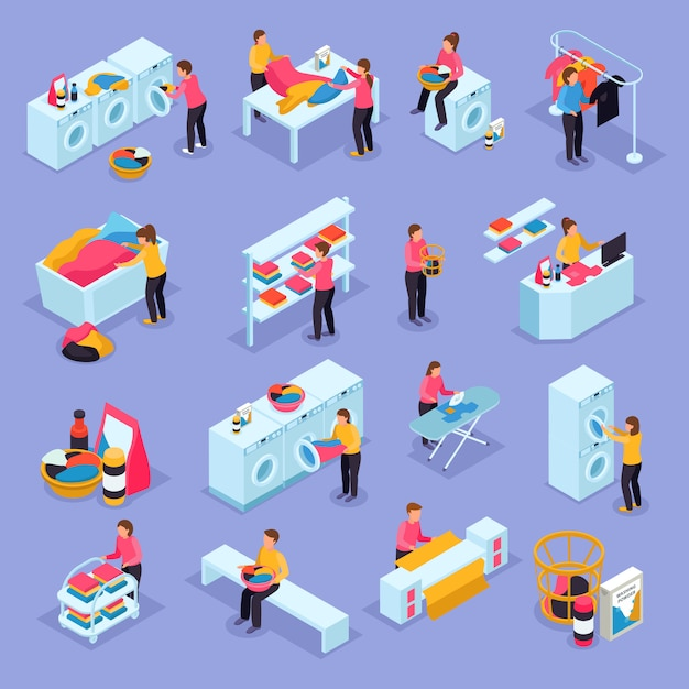 Coin laundry self service room customers equipment process isometric icons set with washing machines dryers Free Vector
