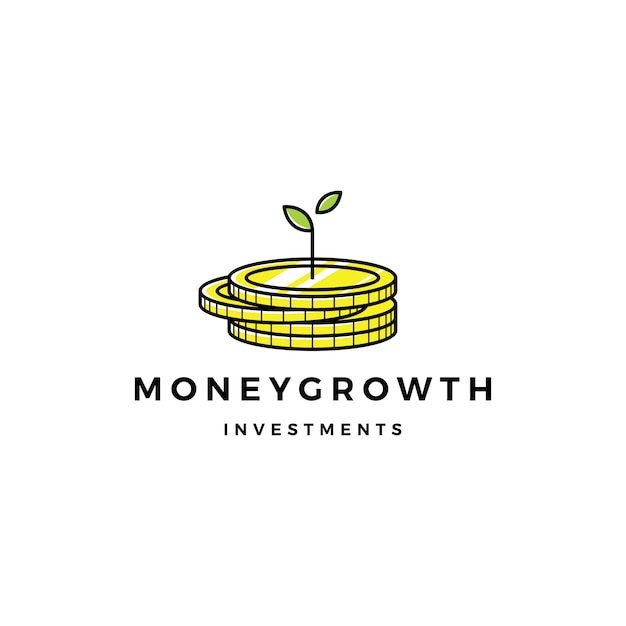 Coin leaf sprout money growth investment logo Premium Vector