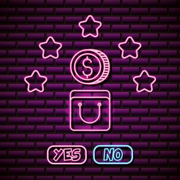 Coin and stars design in neon style, video games related Free Vector