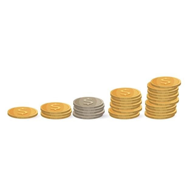 コインの昇順が分離されました。スタックの銀と金のお金。投資の実例、利益の増加と達成の繁栄。経済概念 Premiumベクター