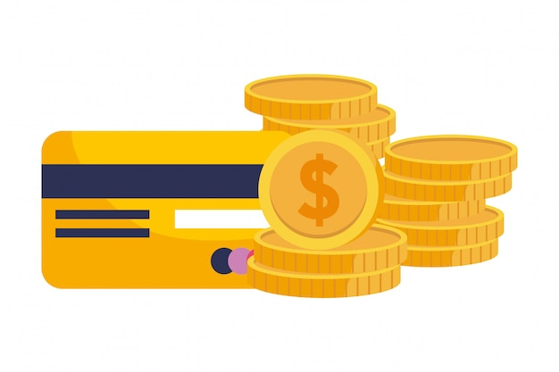 Coins and credit card illustration Premium Vector
