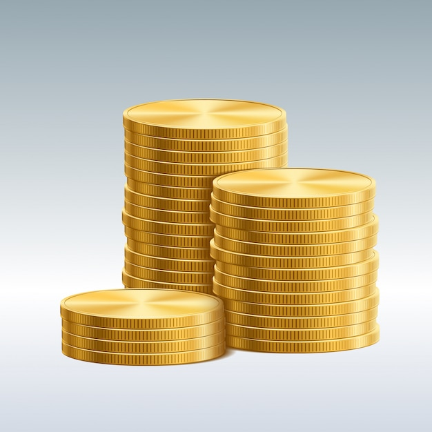 Coins isolated Premium Vector