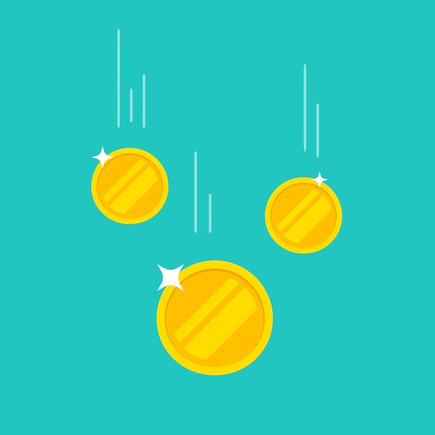 Coins money falling or dropping flat cartoon icon isolated on color background Premium Vector