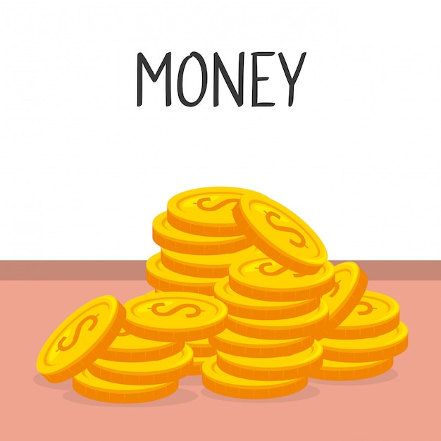 Coins money isolated icon Free Vector