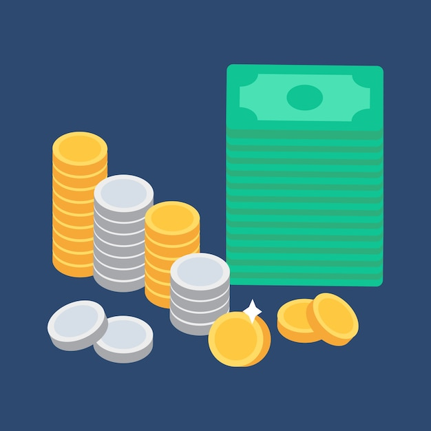 Coins and money Premium Vector