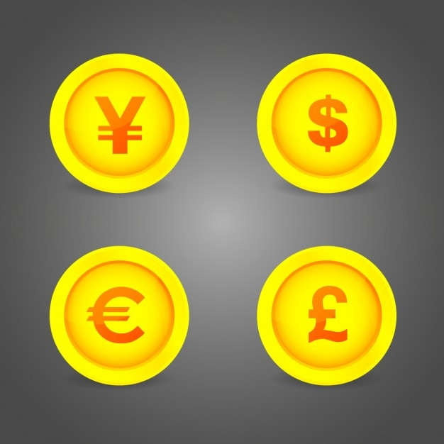 Coins symbols buttons Free Vector