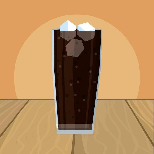 Coke glass cartoon Premium Vector