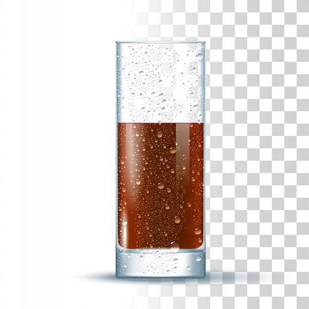 Cola slightly glass Premium Vector