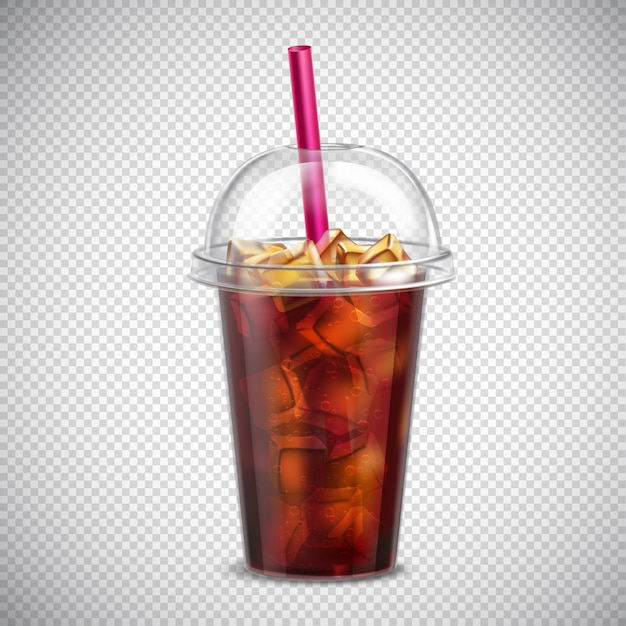 Cola with ice realistic transparent Free Vector