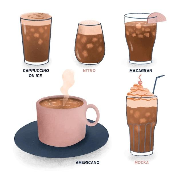 Холодные и ледяные сорта кофе Бесплатные векторы